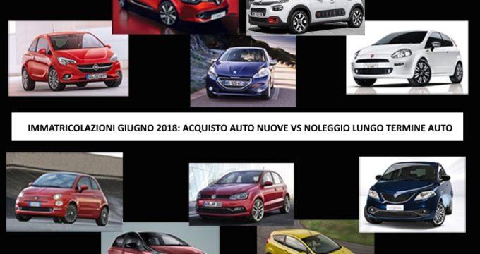 immatricolazioni giugno 2018: acquisto auto nuove vs noleggio lungo termine auto